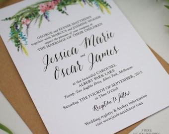 Printable Wedding Invitation Suite, Watercolour Spring Wisteria Wedding Invite Whimsical style, DIY Printable Invitations