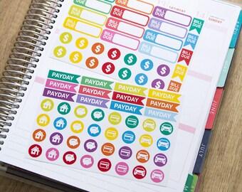 75 bill due sticker, payday stickers, finance sticker, planner stickers, budget money sticker, savings eclp filofax happy planner kikkik