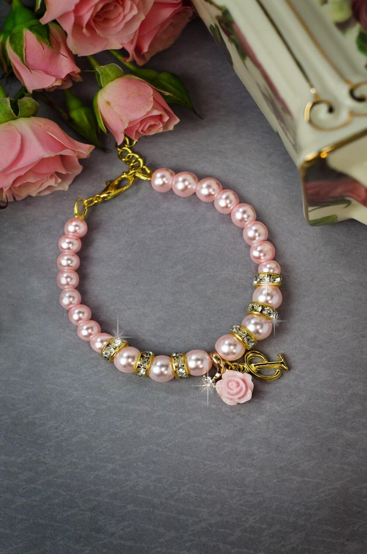 Flower girl bracelet Childrens jewelry Flower girl gift Blush