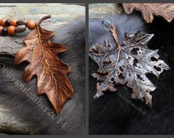 MADE TO ORDER / Leaf Pendant / Leather Keychain / Maple Leaf / Oak Leaf / Autumn Leaf / Leather Jewelry / Handmade Jewelry  / Metallic Leaf