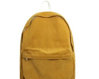 Basic Style Corduroy Backpack (Mustard)