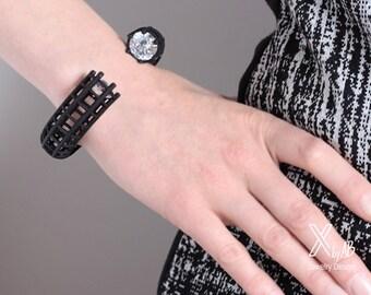 Black Statement Cuff, Contemporary Jewelry, Statement Bracelet, Geometric Cuff, Industrial, 3d Printed Bracelet