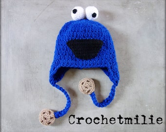 Cookie monster crochet kid's hat