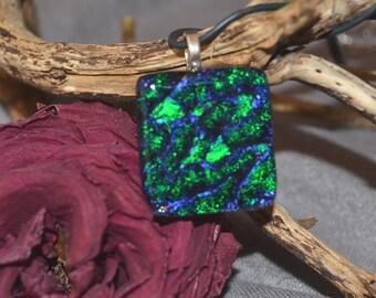 fused glass dichroic pendant, green, blue, square handmade, kiln fired
