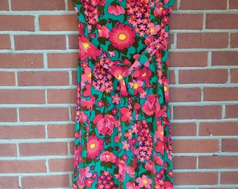 1970's maxi dress velvet flower power Ladies M-L