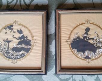 Buzza Silhouette Prints Pair Original Frames