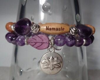 Namaste- Beautiful Amethyst Namaste Stretch Bracelets