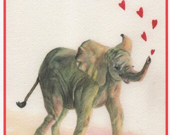 Valentine Elephant with Hearts Card.  Watercolor on 5 X 7 stock.  Inside of card:  Love you a ton!