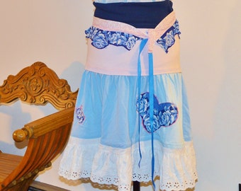 Bohemian Tshirt skirt, Gypsy, Shabby Chic, Hippie, Festival Skirt, UPcycled Skirt, Boho Skirt, Repurposed Skirt, Ready to Ship