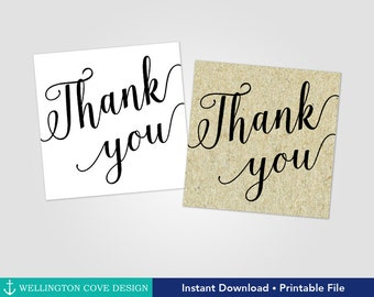 Printable Thank You Tags • Wedding Favor Tags • Instant Download • Calligraphy Tags • Engagement Bridal Baby Shower • Black Cursive Digital