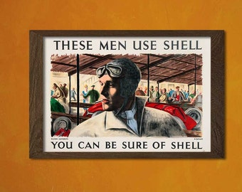 Vintage Shell Advertising Print - Retro Wall Decor Vintage Office decoration Car Poster Shell Poster Car Print  t