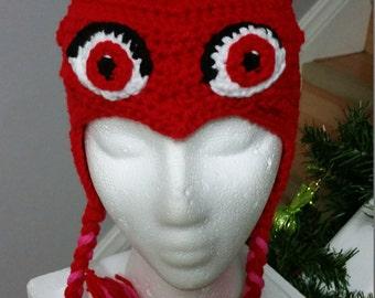 Crochet red owlette hat toddler - child