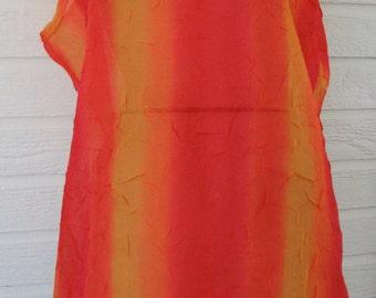 Vintage Swimsuit Coverup Orange Crinkles