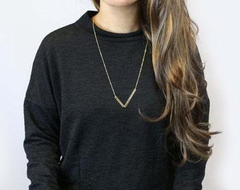 Personalized Unbalanced Name Gold Bar Necklace // Customized Necklace