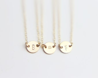GF SS // Small Personalized Initial Coin Disc Choker Necklace // Bridesmaids Personalized Jewelry Gift