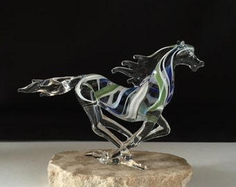 Handblown Glass Running Horse Sculpture