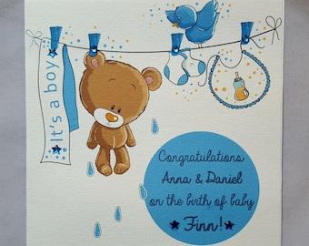 Personalised Handmade Baby Congratulations Card-Boy