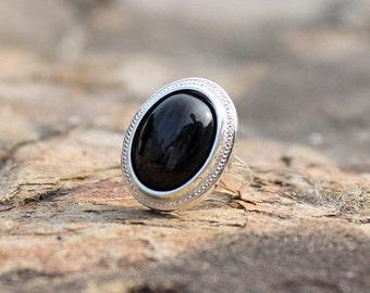 Hypersthene Ring, Hypersthene Natural Ring, Gem Stone Hypersthene Ring, Silver Ring, Sterling Silver Ring, Jewelry Gift, Black Ring, Handmade