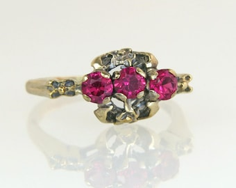 Antique Vintage Estate  10K Yellow Gold Flowers .50ct Genuine Ruby Art Deco Ring 2.6g