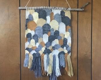 Wall Hanging Weaving, Fiber Art, Tissage, Boho Chic Wall Decor, Yellow, Gray, White Handwoven Wall Art