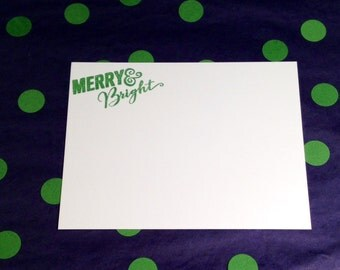 Merry and Bright/Christmas/Holidays Flat Cards and Envelopes - Green and White - Set of 8