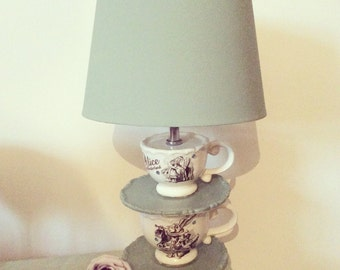 Luxury Unique alice in wonderland mad hatters tea party  teacup lamp