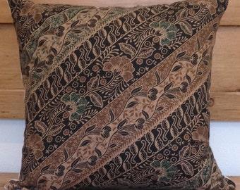 Vintage Floral Indonesian Batik Pillow Cover 16 x 16, Ethnic, Handmade