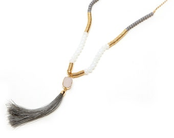 Beaded Druzy Tassel Necklace, Gold Gray White Raw Quart Druzy Tassel Beaded Necklace, Y necklace, Druzy Necklace.