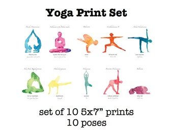 Yoga Art Print Series // Yoga - Watercolor Yoga - Yoga Pose Card Set - Art Prints for Yoga - Yoga Art Work - Yoga Art - Watercolor Yoga