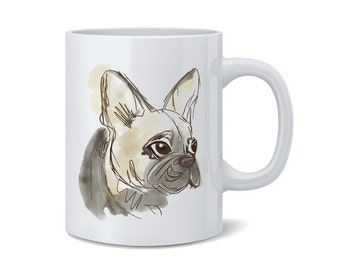 French Bulldog Frenchie Sketch Ceramic Mug / Cup | French Bull Dog Gift