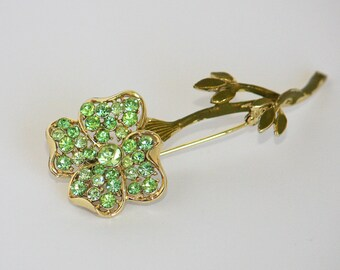 Vintage light green rhinestone large flower brooch pin