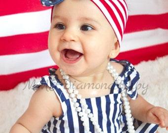 4th of July Baby Girl Headband-Baby Headband-Red white and Blue Headband-Mom and Baby Headband-Stars and Stripes Headband-Baby Girl headband
