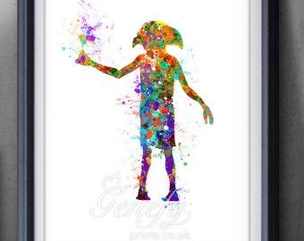 Harry Potter Dobby Elf Silhouette Poster Print - Wall Decor - Artwork- Painting - Illustration - Home Decor  - Kids Decor - Nursery Decor
