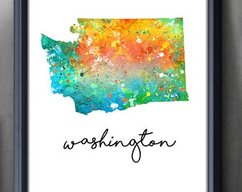 Washington State Map Watercolor Art Poster Print - Washington Watercolor Wall Art - Artwork- Watercolor Painting - Illustration - Home Decor