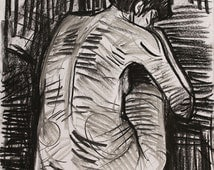 nude figure drawing, nude charcoal art, charcoal drawing, framed charcoal art, black and white canvas art, feminin art, painting of a woman