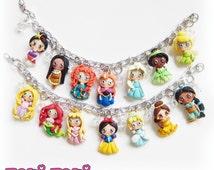 Fairy Tale Princess Collection Charm Bracelet, Princess Jewelry, Fairy Tale Jewelry, Book Jewelry, Storybook Jewelry, Polymer Clay Princess
