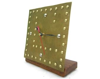 Brass Industrial Desk Clock