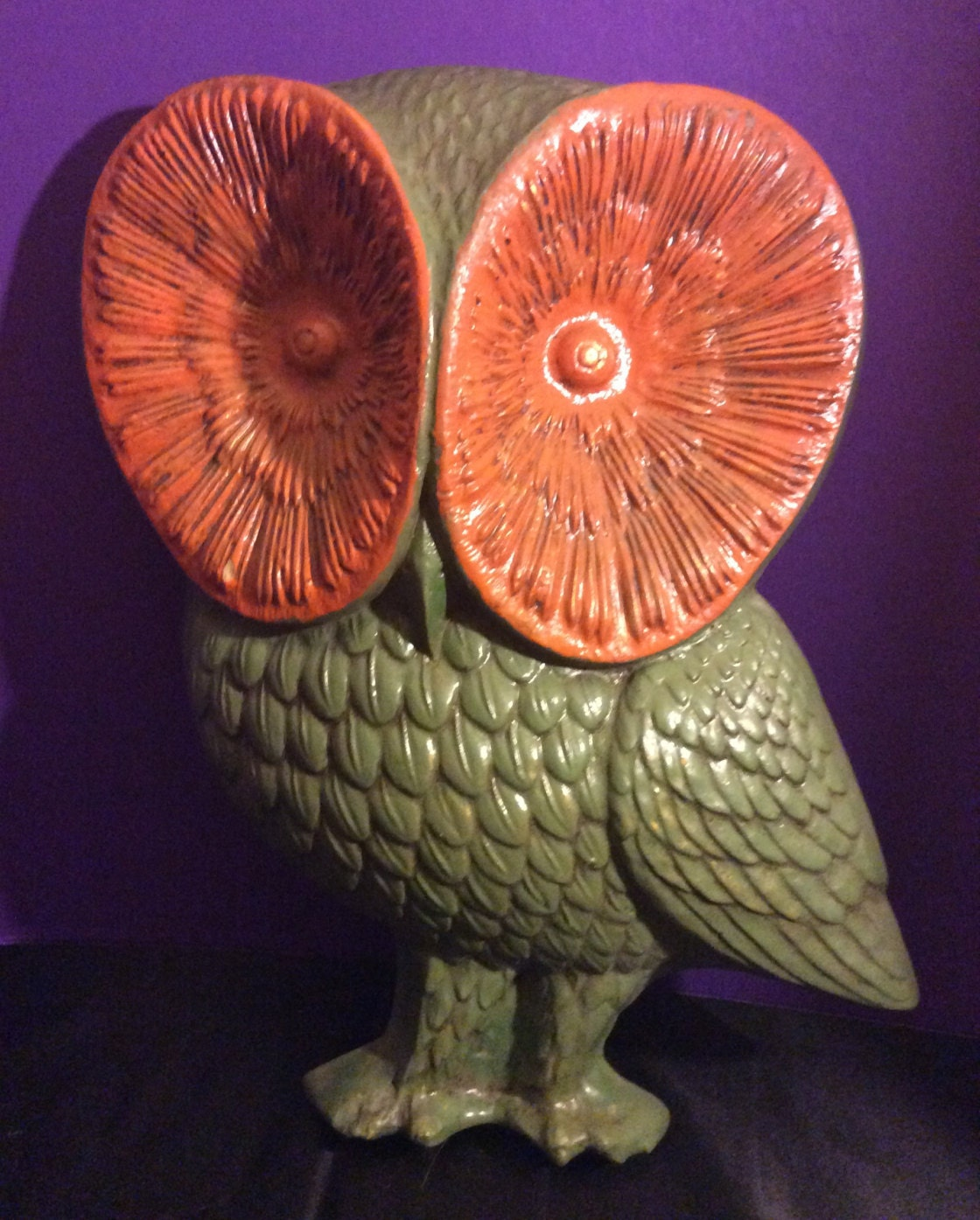 Large vintage resin owl wall decor 16 tall for Resin wall art
