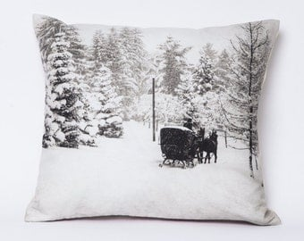Throw pillow, winter snow scene pillow, Gstaad, 1924 -- 15 x 15 Pillow Cover Includes Insert