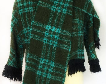 Vintage 1960's Green and Turquoise Boucle Plaid Jacket with Fringe and Matching Scarf