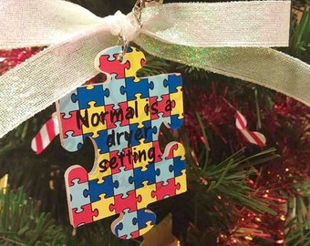Custom ornament, custom puzzle piece ornament, Monogrammed ornament, Personalized ornament, Autism ornament, custom awareness ornament