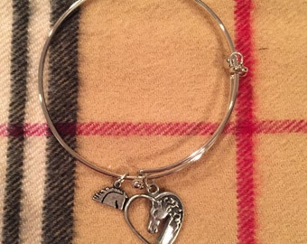 Horse in Heart Bangle Bracelet