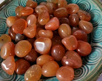 Beautiful Glossy Tumbled Carnelian Stones 2 pieces
