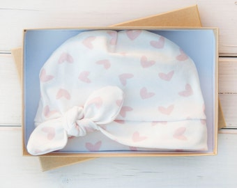Baby Girl Organic Cotton Newborn Beanie with Bow - Pink, White - Newborn Hat Baby Beanie Baby Girl Winter Cap - Hospital Hat - Infant Bow
