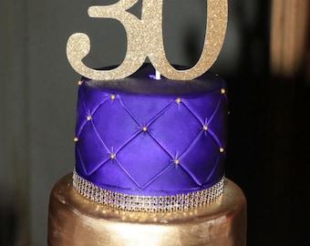 30th Birthday Cake Topper, 30th Cake Topper, 30 Birthday Cake Topper, Thirty Birthday, Gold Cake Topper, 20th, 40th, 50th, 60th, 70th, 80th