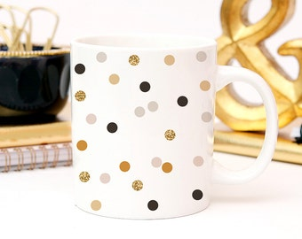 Coffee Black and Gold Polka Dot Coffee Cup - Minimalist Coffee Cup - Great Housewarming Gift