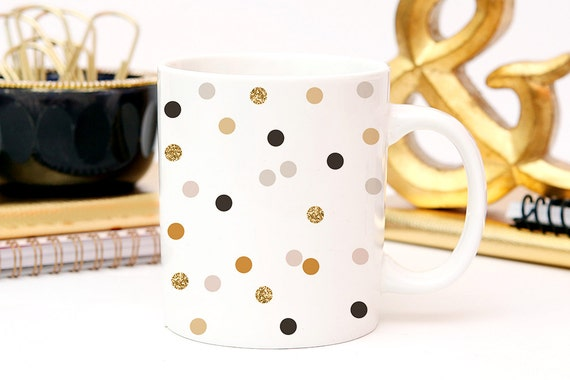 Coffee Black and Gold Polka Dot Coffee Cup - Minimalist Coffee Cup - Great Housewarming Gift