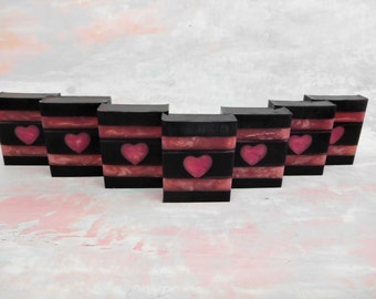 Heart Soap - Valentines Day Soap - Valentines Day Favors - Charcoal Soap - Olive Oil Soap - Soap Favor - Valentines Day Gift - Wedding Favor
