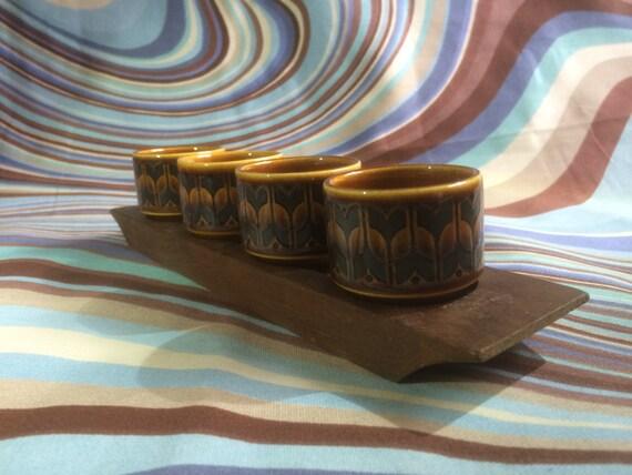 Vintage Hornsea pottery 'Heirloom' Eggcup Set in wooden stand. 1972.