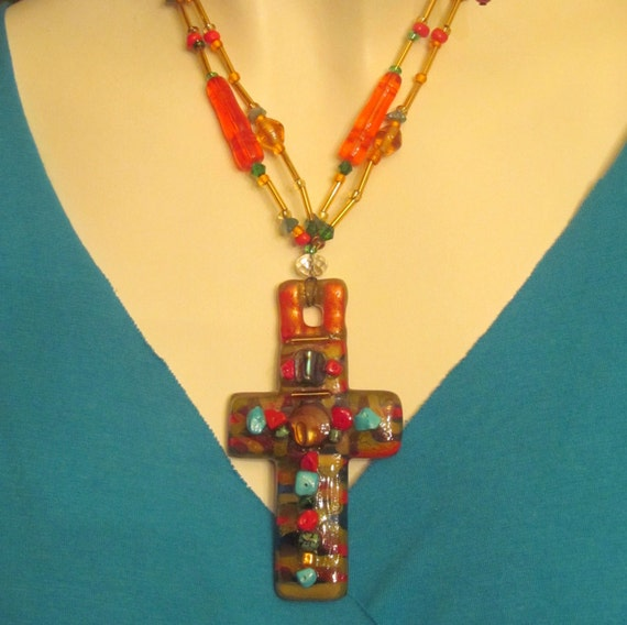 Necklace. Jewelry. handmade necklace. Cross.Original necklace, turquoise, orange, green,, gold. ready to ship